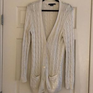 Ralph Lauren white knitted long cardigan.